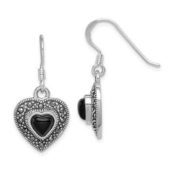 13mm Onyx and Marcasite Heart Dangle Earrings in Sterling Silver