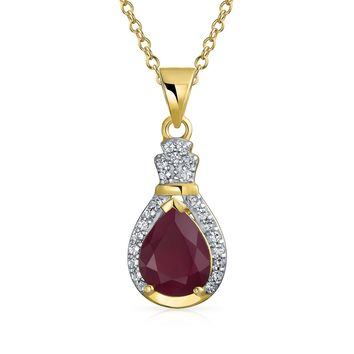 Pear Ruby Zircon Halo Pendant Necklace 14K Yellow Gold Plated Silver