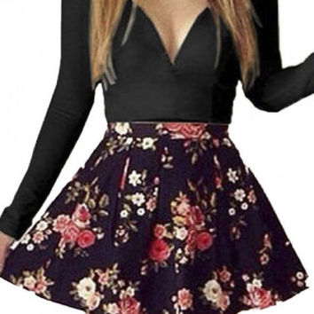 Womens V Neck Floral Cocktail Short Dress