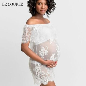 Le Couple Maternity Dresses Photography Props Wear Fashion Summer Ruffles Maternity Dress Clothing Slash Neck Lace Dresses