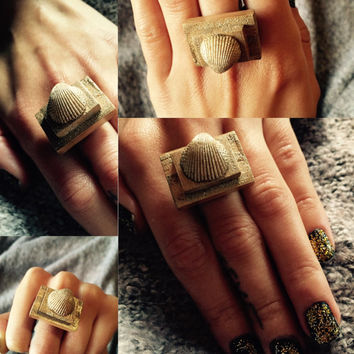 Adjustable Gold Sparkle Seashell Wood Finger Ring Gift For Her One Of A Kind Unique Present Finding Handmade