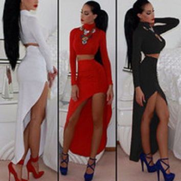 2 Pcs Spandex Turtle Neck Crop Top and Asymmetrical skirt