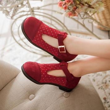 Round Toe Studded Covered T Strap Women Flats Shoes 3840