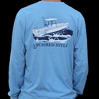 Long Sleeve Angler Tee in Blue by Anchored Style - FINAL SALE