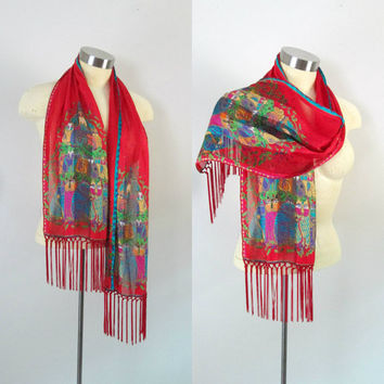 Laurel Burch Red Silk Scarf Shawl With Fringe