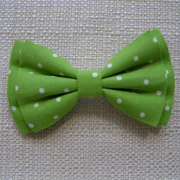 Apple green with ivory polka dots fabric Hair bow tie or clip, Bowties for men and boys,Hair Bows,Fabric bows, Kids and adults