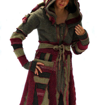 Upcycled, Recycled, Sweater Coat, Elf Coat, Elf Hood, Pixie, Burgundy, Green