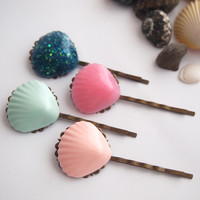 glamasaurus ♥Kawaii Cute Sweet Jewelry + Accessories ♥ — Mermaid Scallop Shell Hair Slides - Bobby Pins Ethereal
