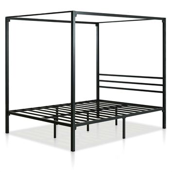 Queen size Modern Black Metal Canopy Bed Frame