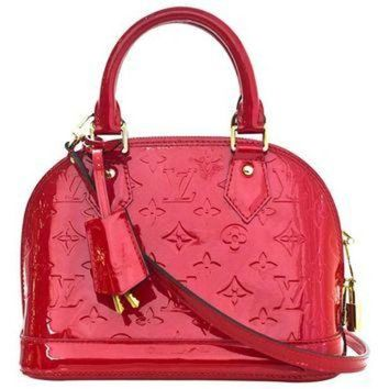ESBYD9 Louis Vuitton Red Patent Leather Monogram Vernis Alma BB Crossbody Bag