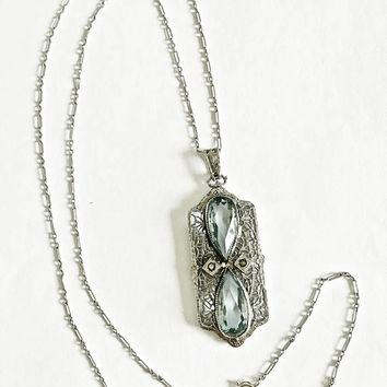 Vintage Art Deco Rhodium Filigree Pendant with Faceted Aquamarine Pear Shaped Stones