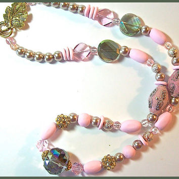 Jesse James and Polymer Clay beaded Necklace 21 in. Pink Silver Leaf Toggle Clasp Handcrafted