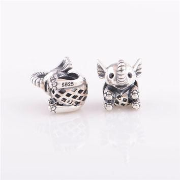 Original 925 Sterling Silver jewelry Elephant s925 beads charm Fit pandora Bracelet &