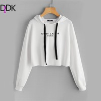 DIDK White Drop Shoulder Raw Hem Crop Hoodie Women's Letter Print Long Sleeve Casual Pullovers Sweatshirt 2017 Fall Top