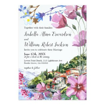 Modern Floral Wild Flowers Summer Boho Wedding Card