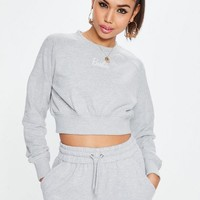Missguided - Barbie x Missguided Gray Long Sleeve Cropped Sweatshirt