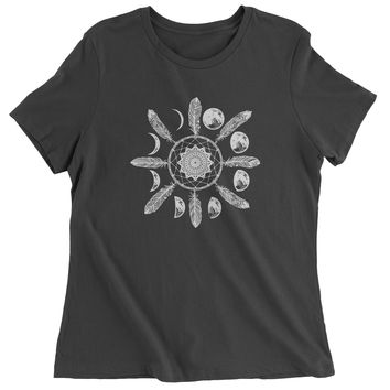 White Dreamcatcher Moon Phases Womens T-shirt