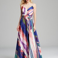 Boutique Gown - V Neck Sleeveless Chiffon Printed