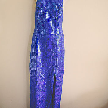 80's Sequined Sparkle Retro Royal Blue  Vintage Prom Dress Neckline Open Back Floor Length Gown New Year's Eve Dress Party