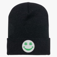 Weed Smiley Knit Cap