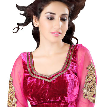 Enchanting Velvet Pink Long Sleeve Saree Blouse X-139