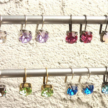 swarovski crystal earrings-sabika style-drop earrings-custom made to order-many colors available
