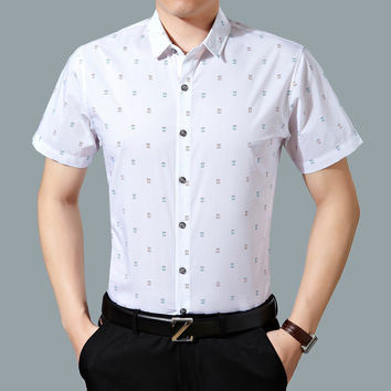 Summer Casual Stylish Men Floral Short Sleeve Men's Fashion Blouse [6544347459]