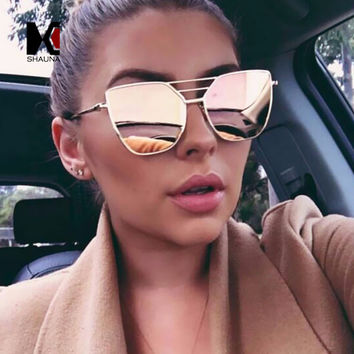 SHAUNA Fashion Women Cat Eye Sunglasses Ladies Metal Frame Flat Reflective Sun Glasses