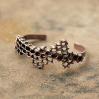 Honeycomb bracelet, beehive cuff, electroplated honey comb, natural comb copper electroform, eco friendly, boho bee jewelry, metal bracelet