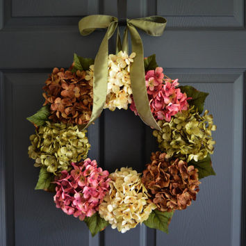 Wreaths - Summer Wreath - Front Door Wreaths - Outdoor Wreaths - Summer Door Wreath - Fall Wreath - Hydrangea Wreath - Housewarming Gift