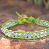 Fern Lime Green Wrapped Leather Bracelet by authenticaboutique