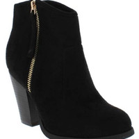 """Romane"" Suede Cowboy Zip Up High Heel Ankle Booties - Black"