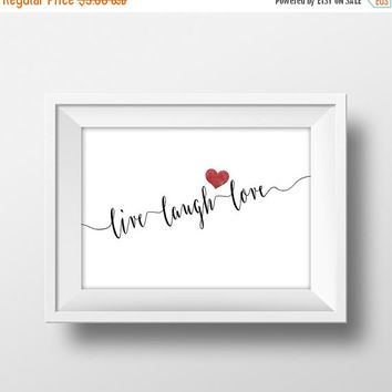 Printable Word Art, Live, Laugh, Love, Red Hearts, Digital Quote Art, Love Quote Printable, Calligraphy, Instant Download, Typography Print