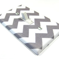 White and Gray Chevron Blake Light Switch Cover  Modern Home Decor Grey
