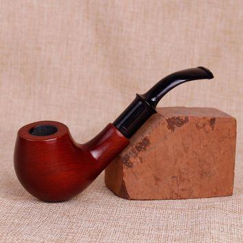 Retro Modeling Redwood Pipes Double Filter Wood Smoking Pipe Herb Tobacco Pipe Cigar Narguile Weed Grinder Cigarette Holder