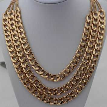 Tri-layers Thick Gold Chunky Chain Necklace, Curb Chain Necklace, Bridesmaids Jewelries, Graduation Friendship Gift, Trending Accessories