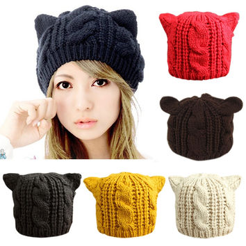 2016 Fashion Lady Girls Winter wool makes hotspot Cat Ear Hat Beanie