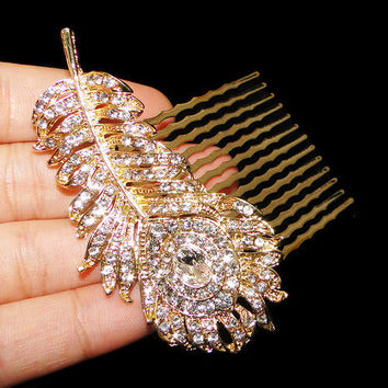 Peacock Feather Hair Comb, Barrette Swarovski Crystal, Hair Accessories, Gold Tone Hair Jewelry, Vintage Clear Rhinestone-110751197