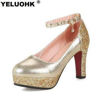 Large Size Bling Wedding Shoes Women High Heels Platform Ankle Strap Ladies Shoes Silver Pumps Fashion Women Shoes 2017