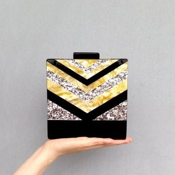 Brand Designer Promotion Acrylic Strip Clutch Pearl Shinny Clutch