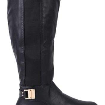 Wide Calf Flat Riding Boot with Side Buckles and Elastic Sides