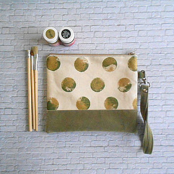 Gold and Olive Polka Dots Print Clutch Wristlet Zippered pouch Cosmetic bag, Clutch bag, Canvas Clutch
