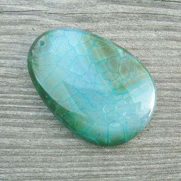 Dragon Vein Agate, pendant bead, blue with green, polished and drilled for DIY jewelry supply, pendant supply, rocks and minerals, stones