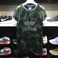 """Adidas""Fashion Print Pattern Scoop Neck Short Sleeve T-Shirt"