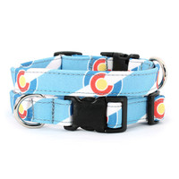 Colorado dog collar - blue with white stripes : small, medium and large, 45% recycled material
