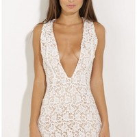 Party dresses > Plunge Lace Bodycon Dress In White