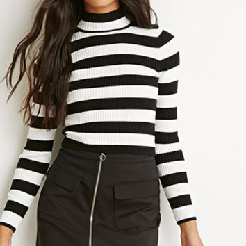 Mock Neck Ribbed Striped Sweater