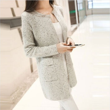 New Spring&Autumn Women Casual Long Sleeve Knitted Cardigans Autumn Crochet Ladies Sweaters Fashion Women Cardigan [8833535308]