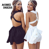 2016 Summer Beach rompers womens jumpsuit chiffon sexy fashion sale black backless bodysuit sexy play suits macacao female wear