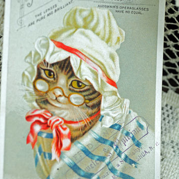 "1800s Trade Card ~ ""Grandma"" Cat for Steampunk Binoculars -  Scrapbooking, Paper Crafting, Altered Art, Mixed Media #556"